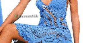 Renkli Ve Motifli Örgü Bayan Elbise Modelleri