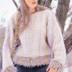 Çizgili ve Çiçek Motifli Örgü Bayan Kazak Modelleri