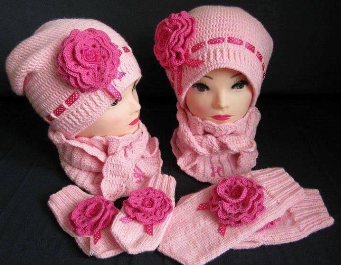 Вязание осенней шапки для девочек 24