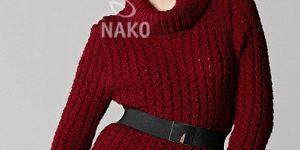 Çatlak Kahve Örnekli Tunik Bayan Örgü Kazak Modeli