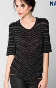 Çizgili Desenli Bayan Bluz Modeli