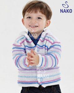 Haraşo Örnekli Erkek Bebek Kapişonlu Hırka Modeli