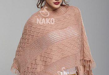 Nako Vizon Renkli Püsküllü Bayan Örgü Panço Modeli