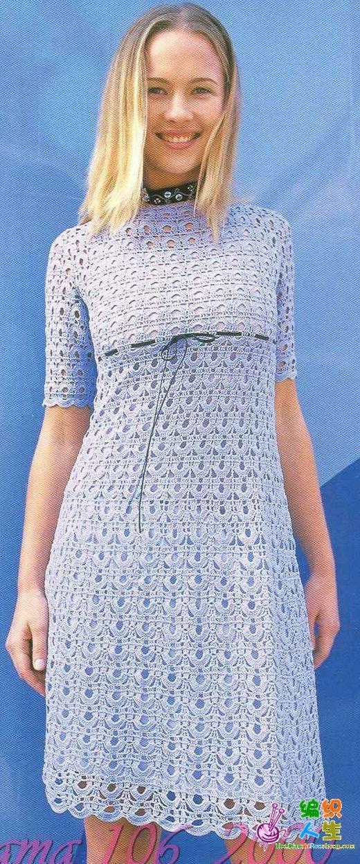 9f74c301d2dd4 açık mavi renkli yarım kollu bayan örgü elbise modeli – örgü el ...