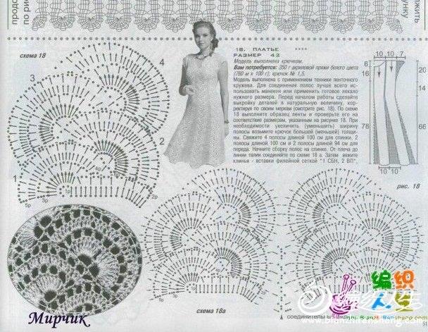 Вязание юбок ленточным кружевом 62