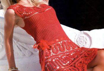Renkli Dantel Örgü Bayan Elbise Modelleri