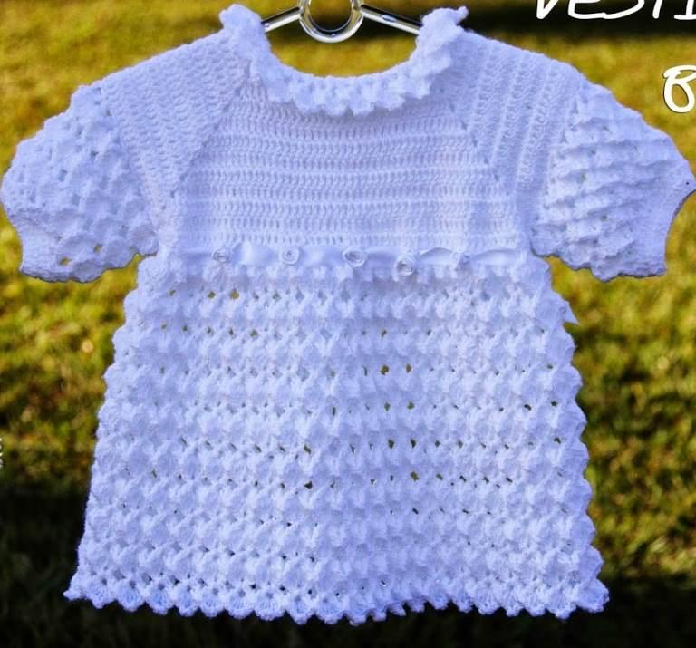 beyaz bebek elbisesi örülüşü